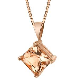 """14K Rose Gold Princess Cut 2.25 ct Morganite Pendant, 18"""""""