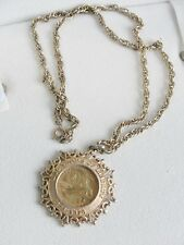 Estate 1976 Gold Tone Quarter Necklace 200 Years of Liberty Bicentennial Jewelry
