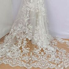 """1 Yard Ivory Embroidery Floral Tulle Mesh Lace Fabric For Bridal Dress 51"""" Width"""