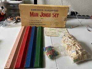 Vintage The Royal Traveler Mah Jongg Set with Embossed Hardwood Tiles A4