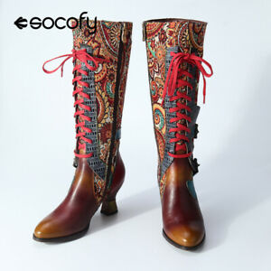 SOCOFY Women Retro Style Leather Boots Knee High Block Heel Shoes Zipper