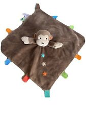 Taggies Brown Monkey Security Blanket Lovey Rattle Stars Satin Back Baby Toy