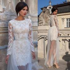 2017 Lace Detachable Long Sleeves Wedding Dress Custom Size 4 6 8 10 12 14 16 ++