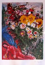 "MARC CHAGALL ""LE SOUCIS"" Facsimile Signed Limited Edition Lithograph Art"
