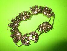 on 2 Metal Chains Very Good Vintage Brass Elephant Charm Bracelet w/Rhinestones