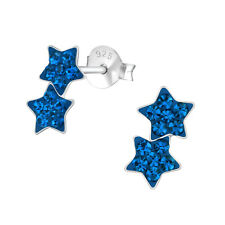 New Royal Blue Double Shooting Star Crystal Sterling Silver Stud Earrings