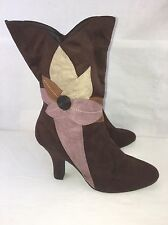 "Predictions Boots Size 11 Pink Brown Flower 3"" Heel Non Slip Bottom"