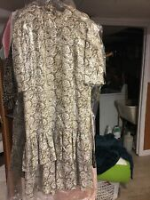 Vintage Bgb Tiered Ruffle Double Dress Beige & White 42� Length 16� To Shoulder.