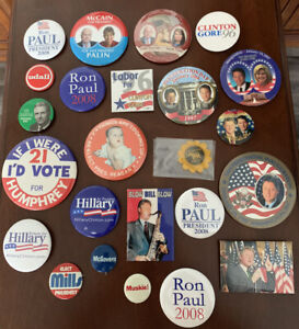 Lot of 24 Campaign Presidential Political Buttons Clinton Democrat Republican