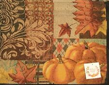 Set Of 4 Fabric Autumn Fall Pumpkin Leaves Tapestry Table Placemats 13 X 19 Inch