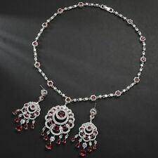 HIGH QUALITY LAB RUBY&DIAMOND 18K GOLD PLATED EARRINGS NECKLACE JEWELRY SET