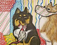 Finnish Lapphund In Face Masks Dog Art 8x10 Print Poster Lovely Vintage Style