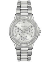 Citizen Eco-Drive Women's Crystal Accents Silver-Tone 36mm Watch FD2040-57A