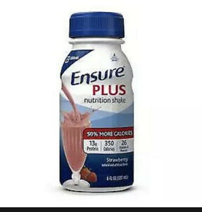 24 Pack Oral Supplement Ensure Plus Strawberry ONE 8 oz Bottle Ready-to-Use