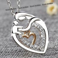 NEW Xmas Gifts For Her - Silver & Gold Heart Crystal Necklace Love Mum Mom Women