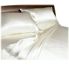 Silky Satin Flat Sheet Ivory Color 2 PCs Set Twin size