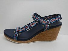 Teva Size 10 Blue Pink White Wedge Sandals New Womens Shoes