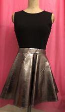 Black Leather Look Black Metallic Bronze Sleeveless Dress 10/12