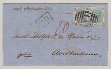 HONG KONG Cover 1869 British P.O. Yokohama Japan to Amsterdam Netherlands, RARE!