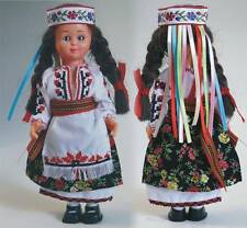 Ukrainian Doll with Brown Hair and Embroidery,Traditional Wreath, Vinok, 7 1/2""