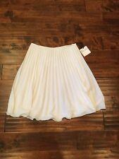 RED Valentino White Pleated Midi Skirt, Sz 10 (US) 44 (IT), NWT! $395