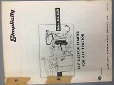 simplicity 12v starter 627 simplicity tractor/mower illustrated parts list