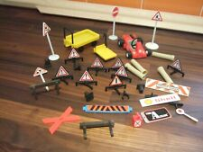 Vintage 1970's Playmobil Items - Road Signs, Racing Car, Pipes, Trolley etc