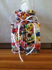 Emoji items on cotton Fabric square Tissue Box Cover /gift bag handmade