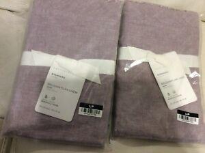 Pottery Barn 2 Belgian Flax Linen Double Flange Standard Shams NIP! Lavender