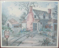 "Lucretia Restrepo ""Farm House"" Signed Numbered Framed Watercolor Print"