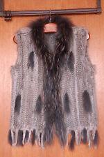 Damen Echt Pelz Weste (Kaninchen/Waschbär) Grau GR.: M/L