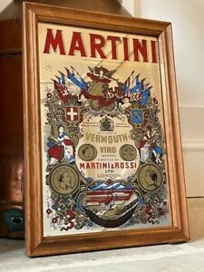 MARTINI ROSSI VERMOUTH VINTAGE MIRROR BREWERY PUB BAR ADVERTISING MANCAVE