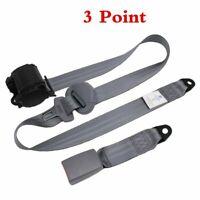 Set Gray Car Auto Vehicle Adjustable Retractable 3 Point Safety Seat Belt Straps