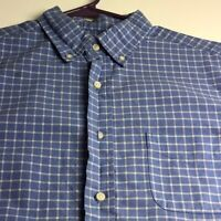 Cremieux Men's Short Sleeve Button Up Shirt Large L Blue White Plaid Pocket
