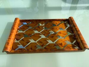 Art Deco wood and mirror glass tray