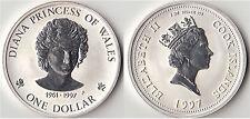 COOK ISLANDS 1997 OZ ONE DOLLAR OUNCE SILVER 999LADY DIANA DOLLARO ARGENTO