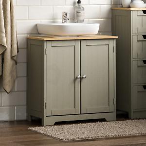 Priano Bathroom Sink Cabinet Under Basin Unit Cupboard Storage Furniture Grey