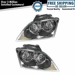 Headlights Headlamps Left & Right Pair Set NEW for 04-06 Chrysler Pacifica