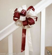 "8"" BURGUNDY RED IVORY WEDDING PEW BOW BRIDAL DECORATION"