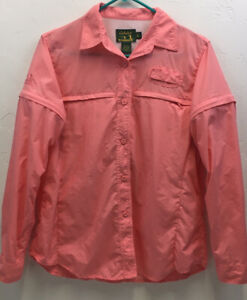 Women's Cabela's GuideWear Pink Nylon Fishing Shirt Size M/Reg