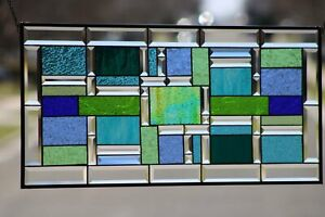 """Multi-Color Geometric Beveled Stained Glass Window Panel- XL 34 1/2""""x16 1/2"""""""