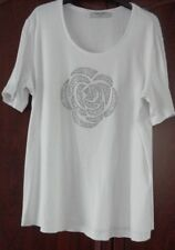 Gerry Weber T-Shirt White Fit size 16 /18 diamante design on front length 25 In