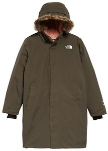 The North Face Girls Arctic Swirl Waterproof Down Parka Taupe Green Sz L 14 - 16