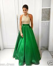 Beading Top Halter Green Satin Ball Gown Prom Dresses Modest Evening Dress