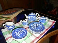 Vintage 14pc CHINA Child's Toy Tea Set China BLUE WILLOW PATTERN JAPAN
