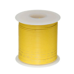"""16 AWG Gauge Solid Hook Up Wire Yellow 25 ft 0.0508"""" UL1007 300 Volts"""
