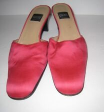 DKNY Pink Satin Leather Mules Heels Size 9 M Spain