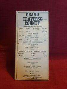 Vintage 1950 Grand Traverse County Michigan Sportsman Map Fishing Hunting