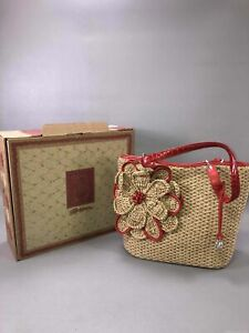 Brighton Red-Tan Baguette Handbag Straw IOB
