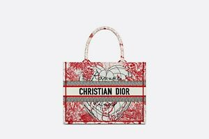 SMALL DIOR BOOK TOTE Red and White D-Royaume d'Amour Embroidery